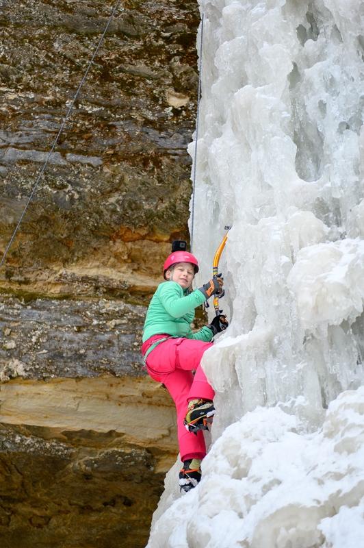 Ice climbing daughter